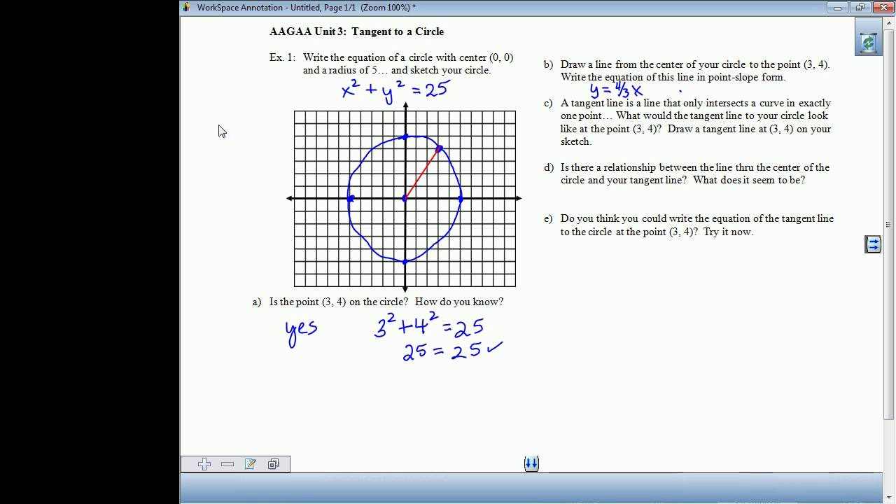 Equation Of A Circle With Radius And Tangent  Tessshebaylo