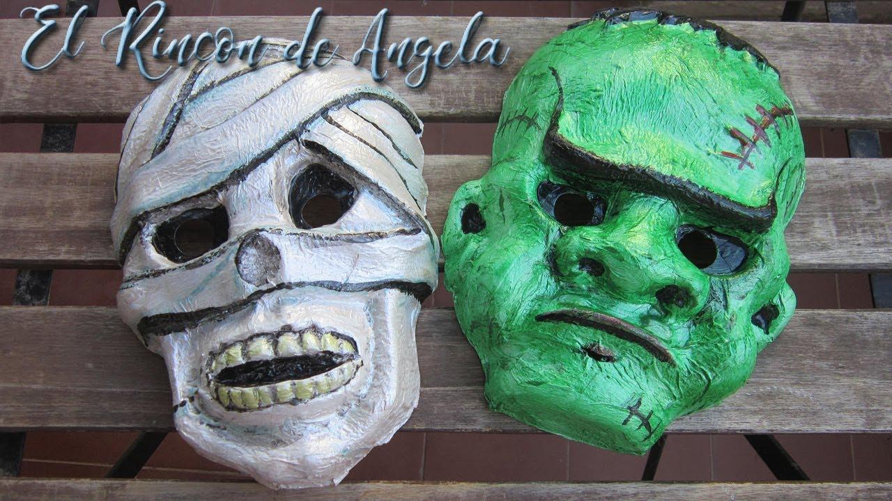 mascaras de la momia y frankenstein para halloween- diy manualidades