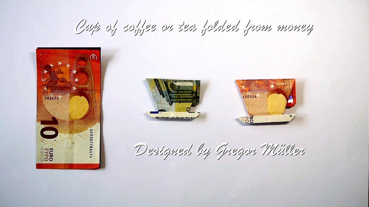 Kaffeetasse aus Geldschein gefaltet Origami Anleitung (deutsche Untertitel, Design Gregor