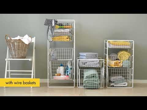 Use wire baskets for a tidy laundry