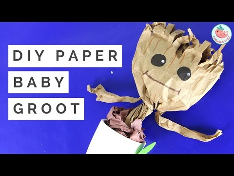 DIY Baby Dancing Groot Tutorial - How to Make a Paper Craft Groot from Guardians of the Galaxy!