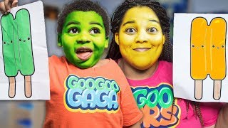 POPSICLE CHANGE MOM DIFFERENT COLORS!  Goo Goo Gaga Learn the Colors