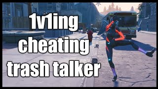 FORTNITE: 1V1ING CHEATING TRASH TALKER