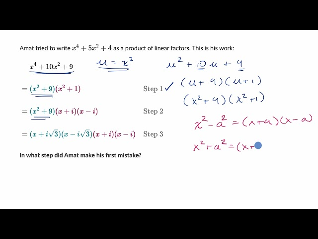 Factoring polynomials using complex numbers