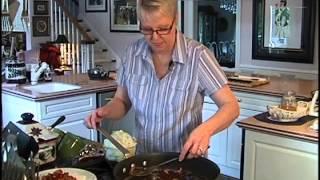 Warm German Potato Salad, Apricot Mustard Pork Chops