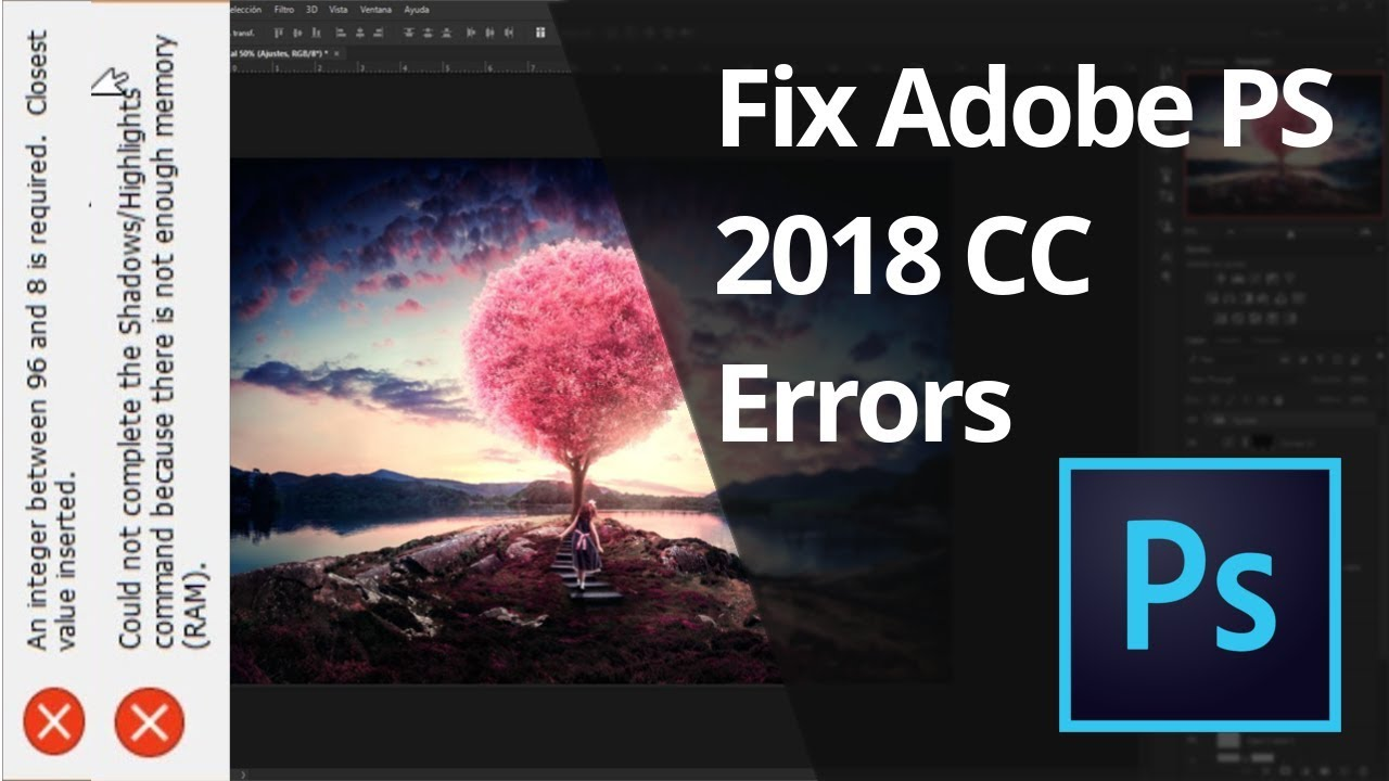 How to Fix Photoshop CC Error | Not enough memory (RAM) | An integer  between 96 and 8 is required