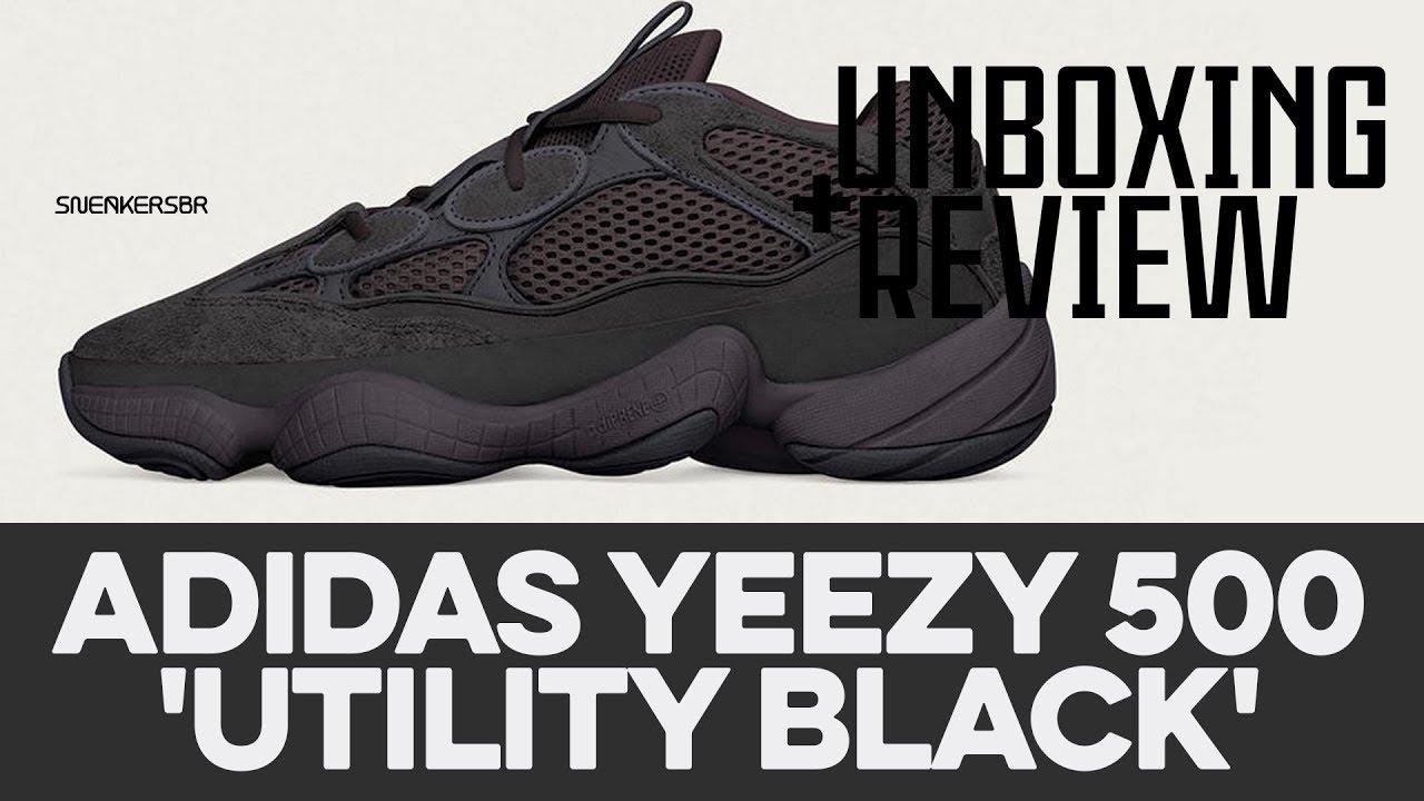 half off e152e e8669 UNBOXING+REVIEW - adidas Yeezy 500  Utility Black