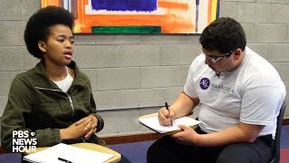 Students demonstrate the story-swapping method