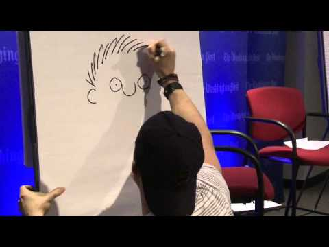 Cartoonist Stephan Pastis sketching live at The Post