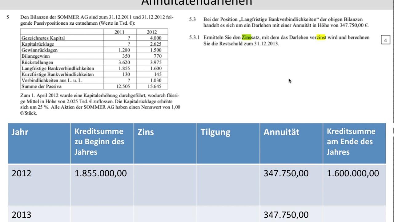 annuittendarlehen kreditfinanzierung abschlussprfung 2013 teil 1 aufgabe 5 fos bos - Annuitatendarlehen Beispiel