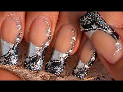 BLUE & SILVER STARS NAIL ART DESIGN TUTORIAL