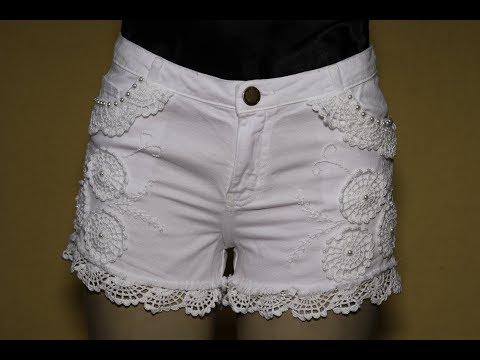 Shorts customizado e crochê