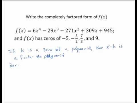 Completely factored form of polynomial - YouTube