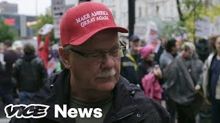 Protester Spits On Trump Supporter During Interview at Minneapolis Rally