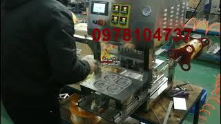 Máy dán ly bánh flan, máy dán ly thạch rau câu, máy dán ly, dán hũ, dán khay hộp tự động có in date