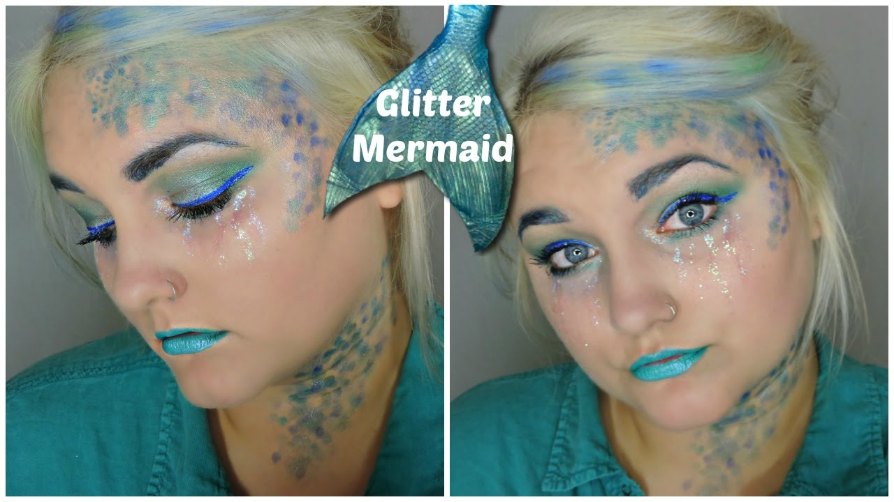Glitter Mermaid | quick and easy Halloween makeup! - YouTube