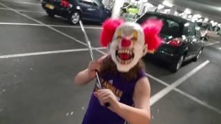 killer clown kid chase thru car park