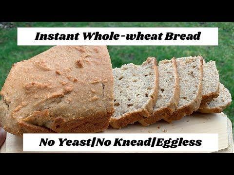 Instant Whole Wheat Bread No Yeast No Knead Eggless Bread Recipe