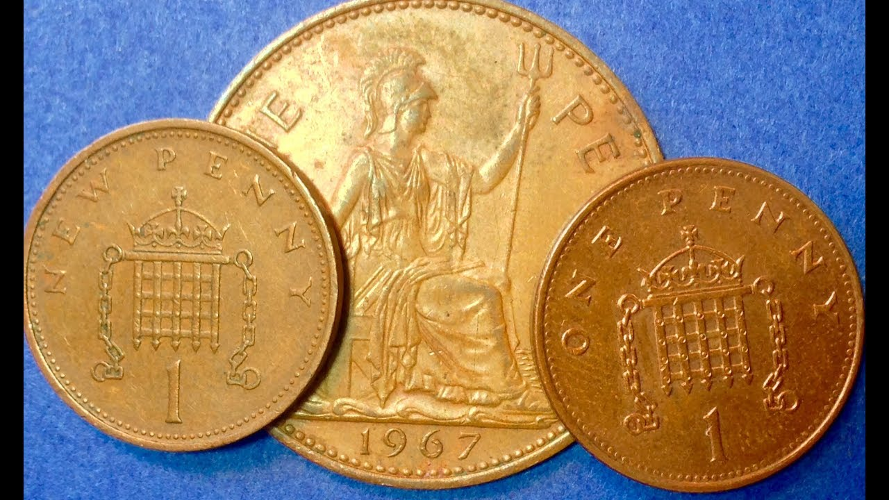 UK One Penny 1992, 1971, 1967 Coins Great Britain
