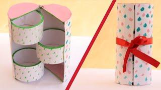 DIY Cute mini 3 drawers cylinder box/jewelry organizer - Recycling Cardboard| Art & Creativity ❤