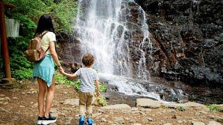 Семейный влог#2 Нашли очень красивый водопад в Фудзияма Кавагутико / Дикая Природа Японии / 母の白滝