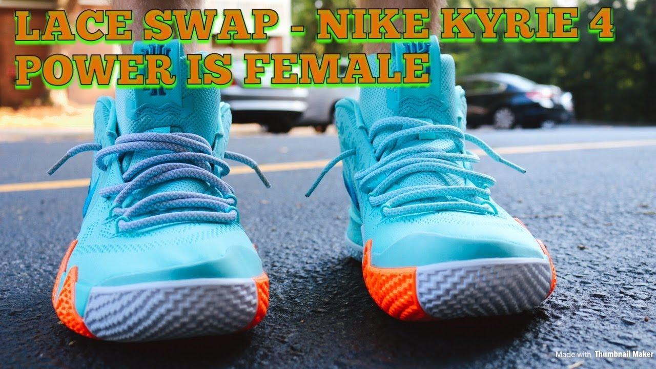 quality design 4b907 ff27b Lace Swap - Nike Kyrie 4 Power Is Female - Laces Via DMG Laces