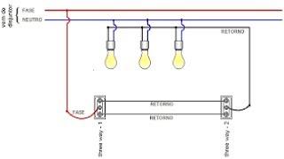 Como ligar 3 lâmpadas com 2 interruptores paralelos