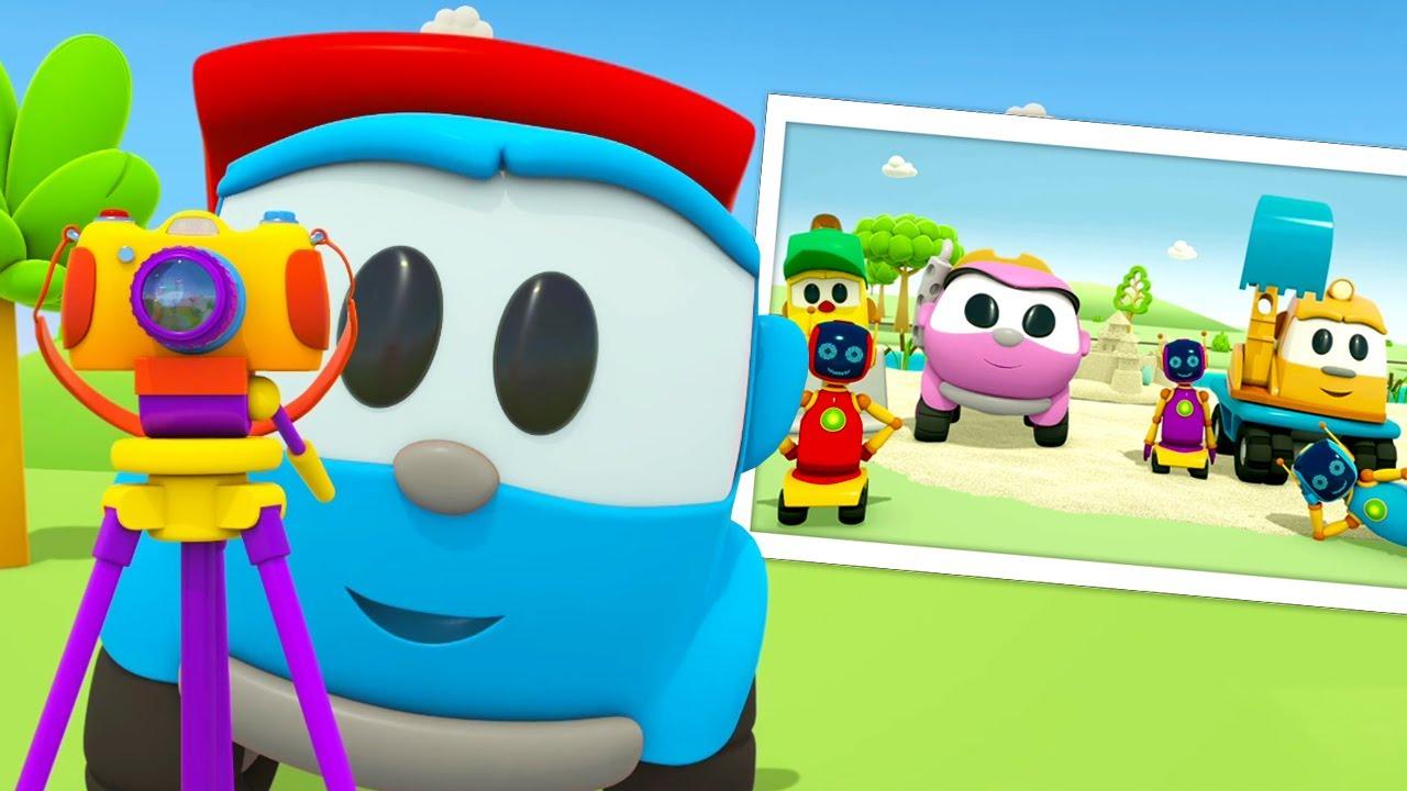 Léo, o caminhão, tira fotos com seus amigos na praia! Desenho animado para crianças