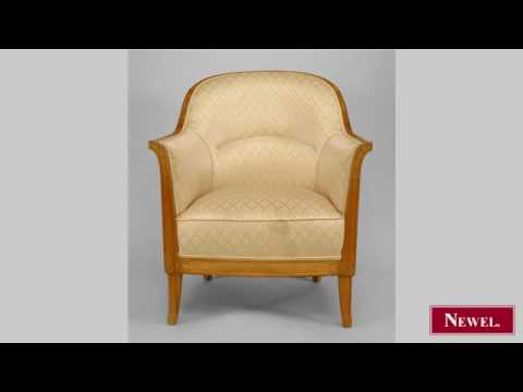 Antique French Art Deco Fruitwood Bergere Arm Chair