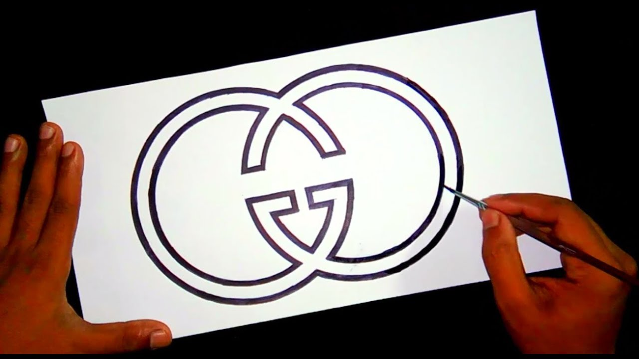 How to draw the Gucci luxury logo ~ logo drawing