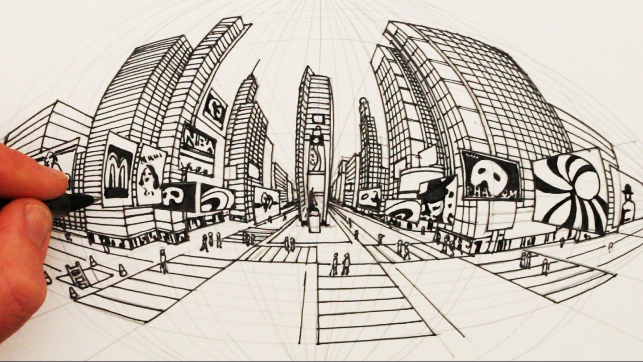 How To Draw In 5 Point Perspective Times Square New York