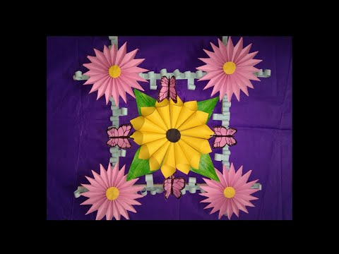 Wall Hanging with dye paper flower / Home decorating ideas