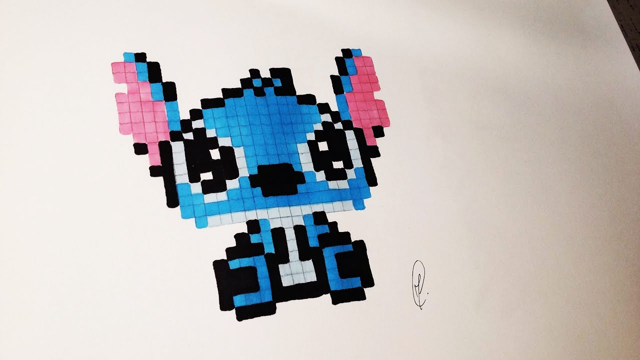 Kawaii Baby Stitch Pixel Art Speed Drawing