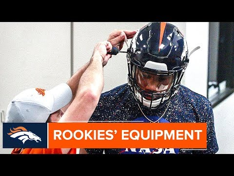 Broncos Rookies Try On New Equipment In Denver