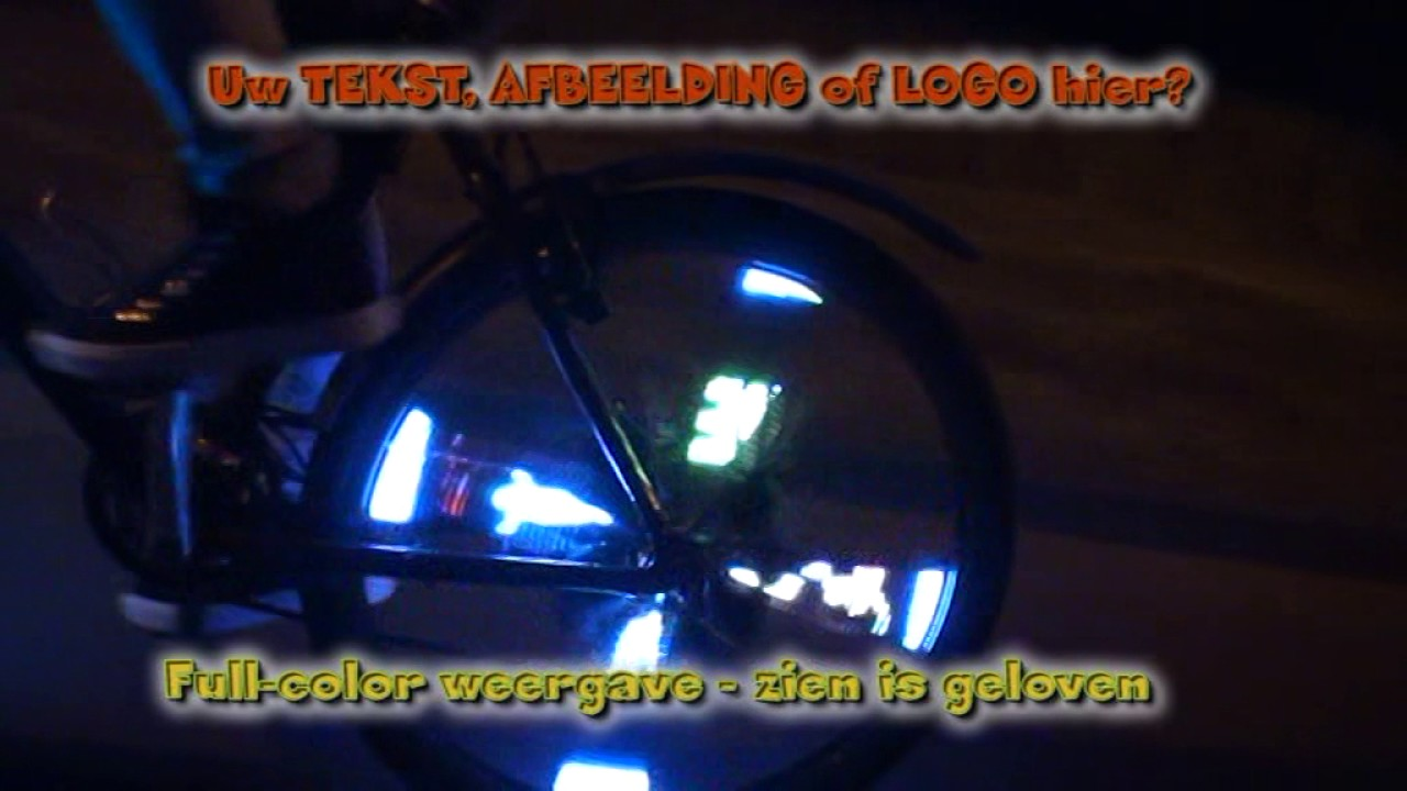 Verlicht fietswiel LOGO, TEKST, AFBEELDING - YouTube