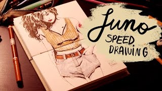 JUNO | Pens and Brushes Speed Drawing