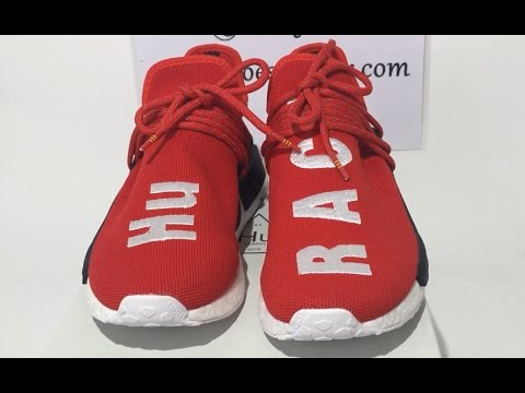 pretty nice 8aef9 1c31d UA Adidas PW Human Race NMD Pharrell Red Sneaker Shoes Unboxing Review