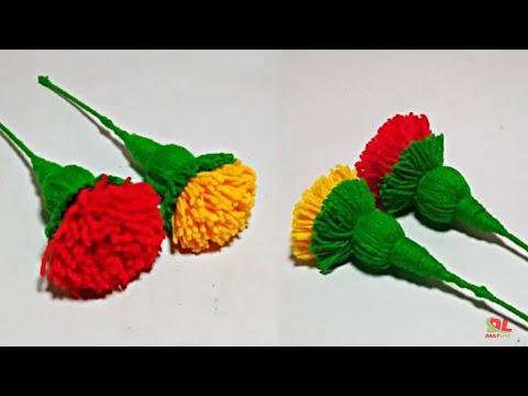 how to make woolen Flower  marigold woolen flower easy craft Woolen Theard Tricks | Dp Techintelugu
