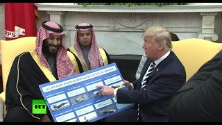 'That's peanuts to you': Trump brings props showing Saudi weapons purchases