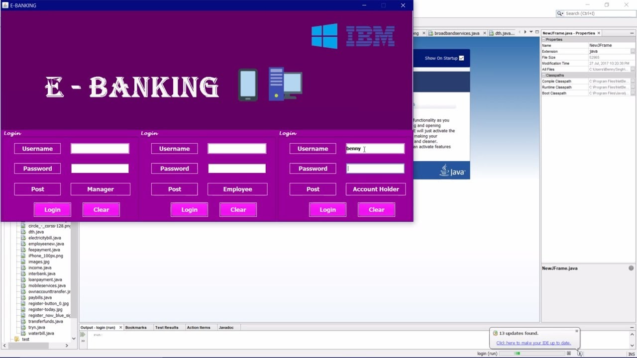 e-Banking Java Project | Net Banking | Online Banking | Netbeans | IBM  certified