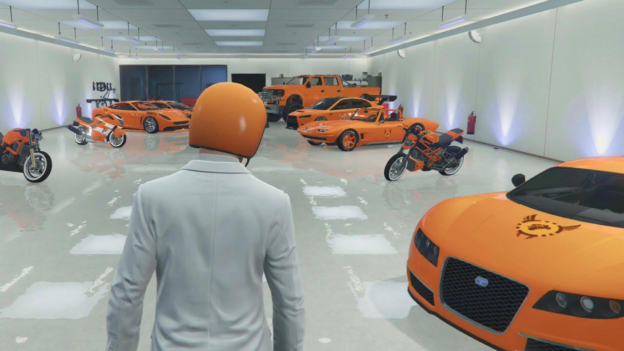 Insane orange gta 5 garage tour q a youtube for Garage auto orange