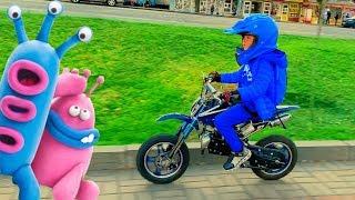 Giant Colors Ball of plasticine! Den ride on Cross Bike for kids in supermarket
