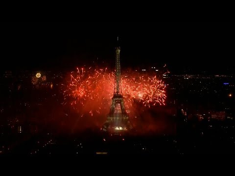 Eiffel Tower fireworks mark Bastille Day 2017 in Paris, France