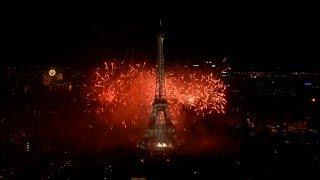 Eiffel Tower fireworks mark Bastille Day 2017 in Paris, France