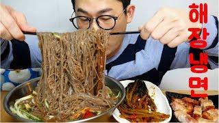 과음하고 보기만해도 시원한 왕냉면으로 후다닥 해장먹방!! 고기는 덤! Real Sound Mukbang
