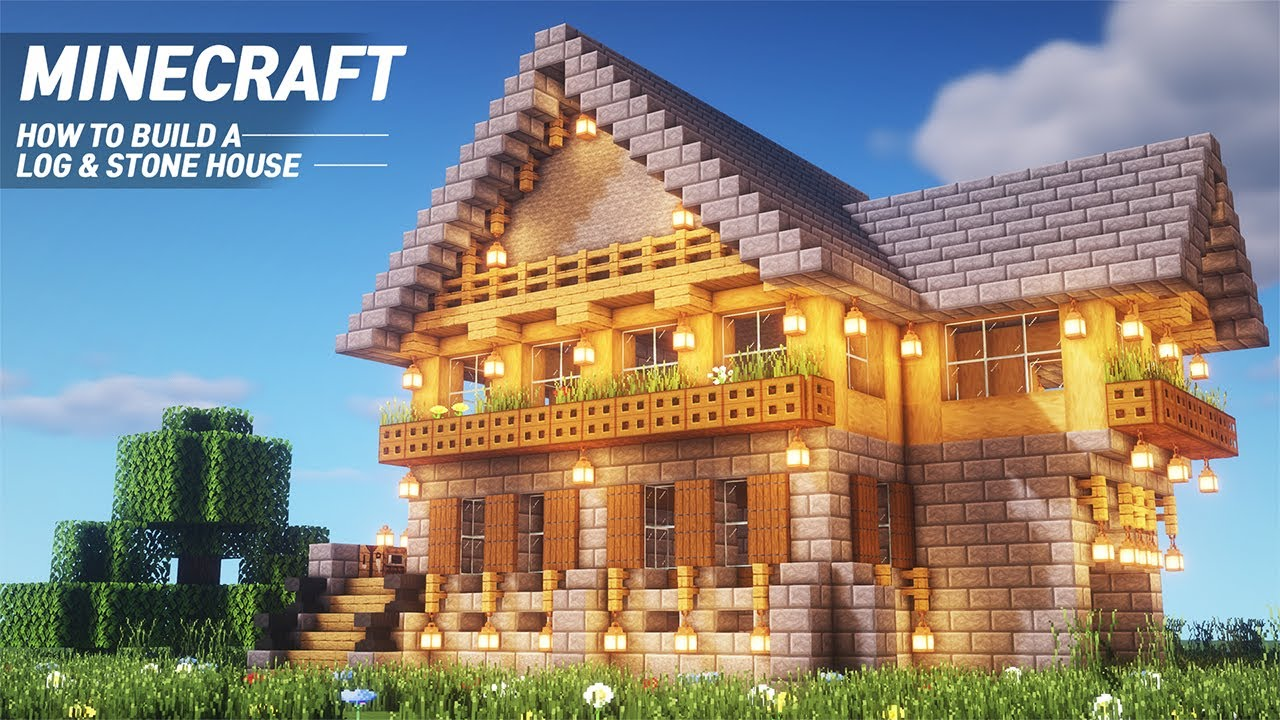 Minecraft : Log&Stone House Tutorial |How to Build in Minecraft (#8)
