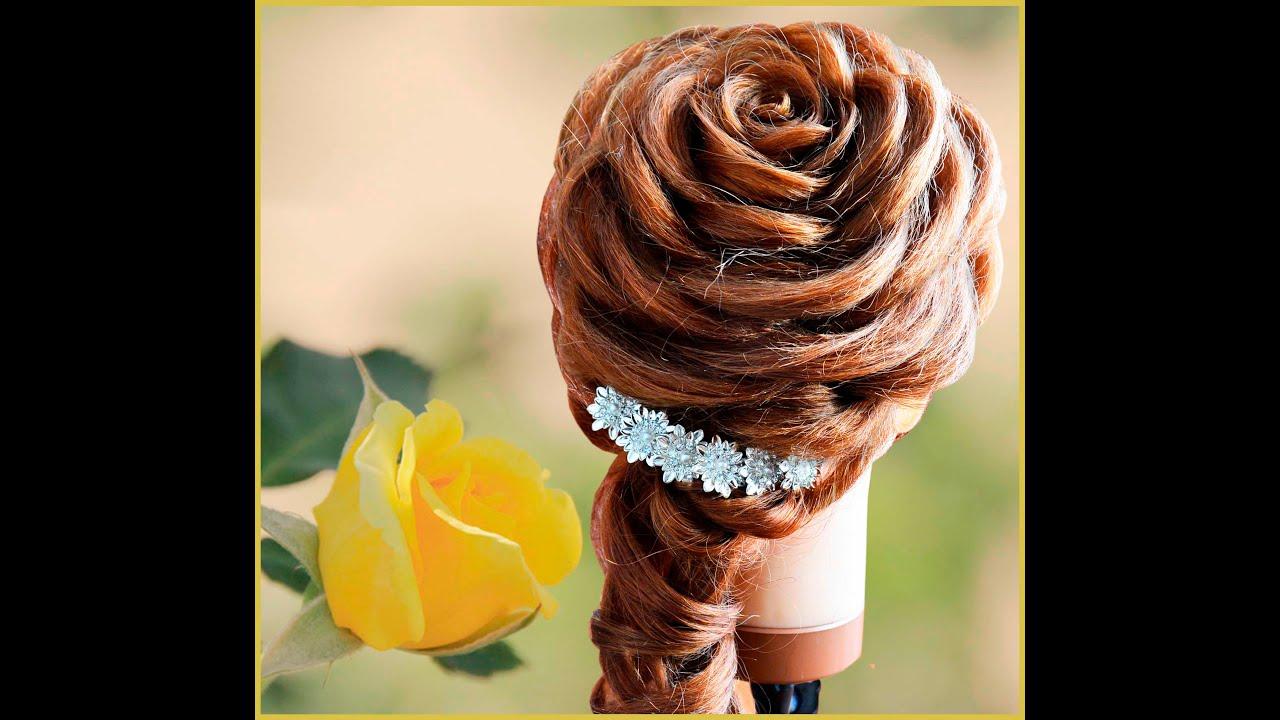 Роза из волос прическа видео