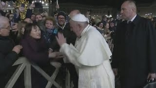 Pope francis has apologized for hitting the hand of a well-wisher who grabbed him and yanked toward her. cameras captured scene when woman, from ...