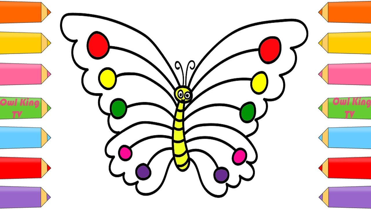 Rainbow butterfly coloring pages - How To Draw Butterfly Rainbow Finger Family Song Nursery Rhym Coloring Pages Animals For Kids