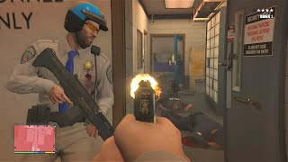 Sly Gameplay   GTA 5 Michael And Trevors Police Station AssaultFive Star Escape